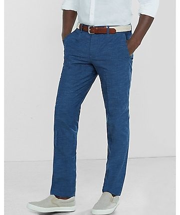 slim photographer blue slub dress pant