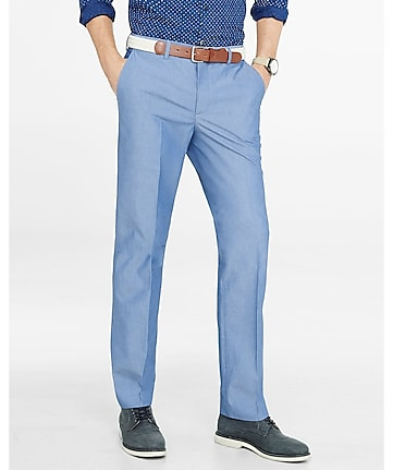 modern producer blue chambray dress pant