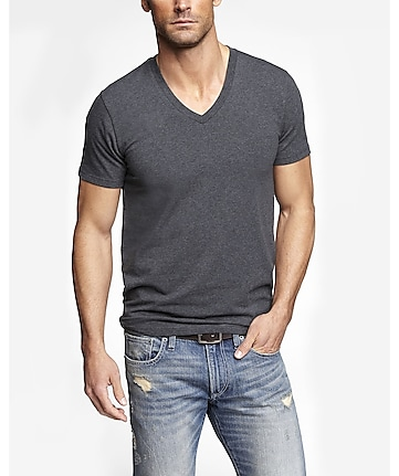 flex stretch cotton deep v-neck tee