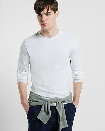 flex stretch cotton long sleeve tee