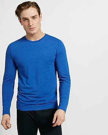 heathered long sleeve flex stretch tee