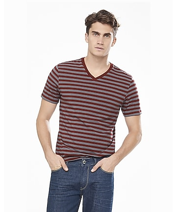 dark red and gray striped v-neck ringer tee