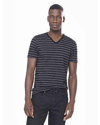 Express Mens Black And Gray Striped V-Neck Ringer Tee