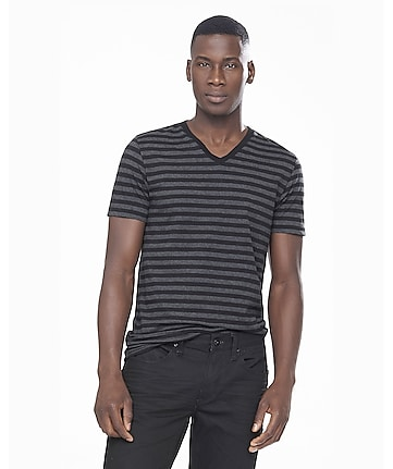 black and gray striped v-neck ringer tee