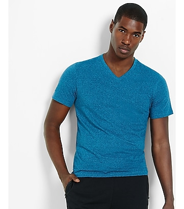 heathered flex stretch cotton v-neck tee