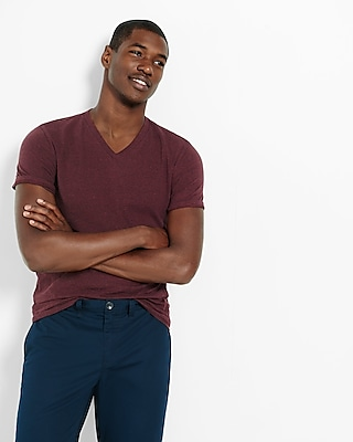 Express Mens Heathered Flex Stretch Cotton V-Neck Tee Red XX Large