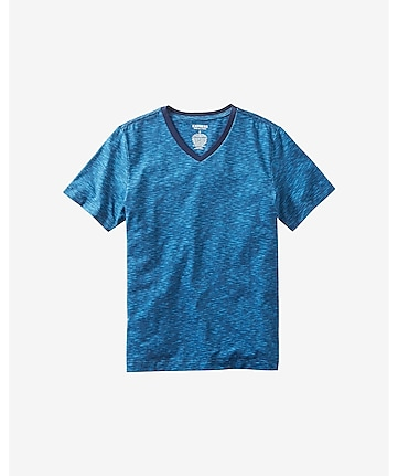 space dyed slub knit stretch cotton tee