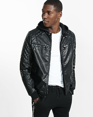 Express Mens (Minus The) Leather Moto Hooded 2-In-1 Jacket