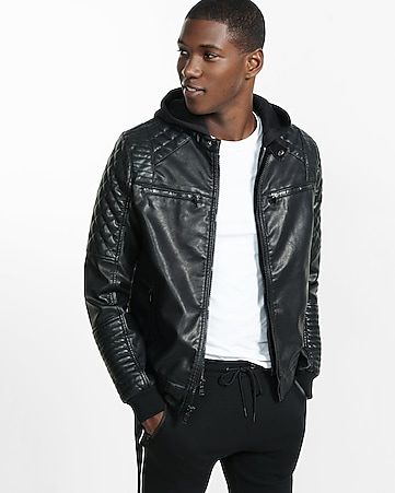 (minus the) leather moto hooded 2-IN-1 jacket