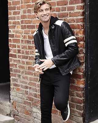 Express Mens (Minus The) Leather 2-In-1 Racer Jacket