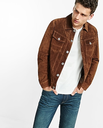 genuine suede trucker jacket