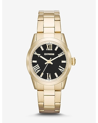 Express Mens Analog Bracelet Watch - Black And Gold