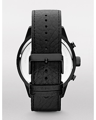 CHRONOGRAPH LEATHER STRAP WATCH - BLACK