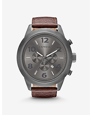 CHRONOGRAPH LEATHER STRAP WATCH - BROWN