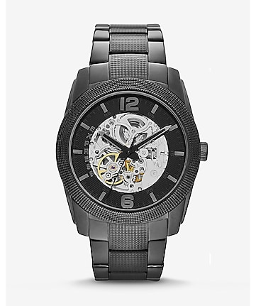 automatic analog bracelet watch - black