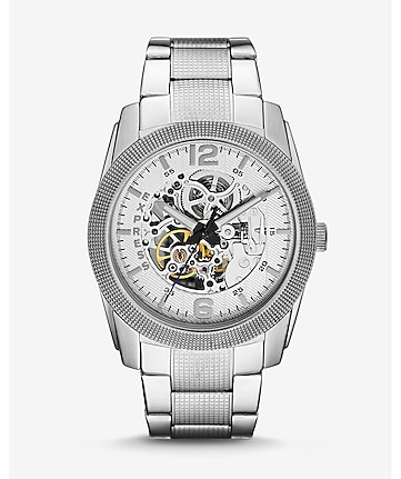 automatic analog bracelet watch - silver