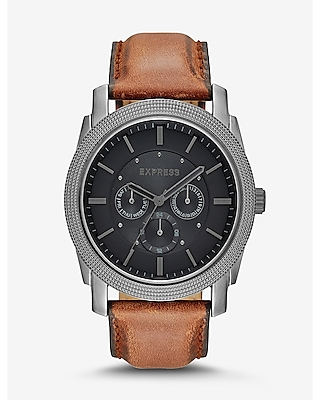 Express Mens Rivington Multi-Function Watch - Brown Leather