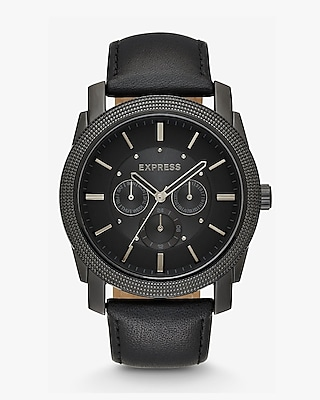 Express Mens Leather Strap Multi-Function Watch
