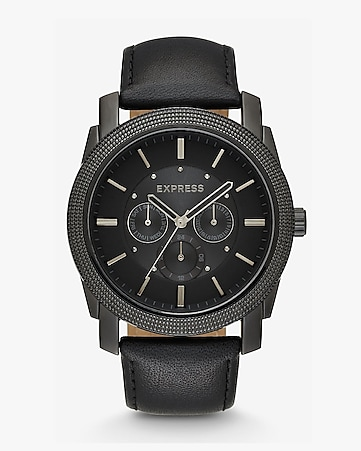 rivington multi-function black leather strap watch