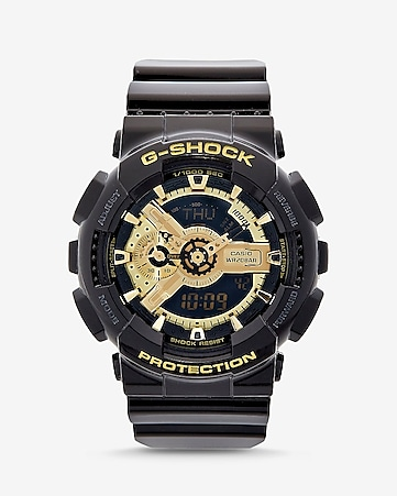 g-shock extra large black and gold watch