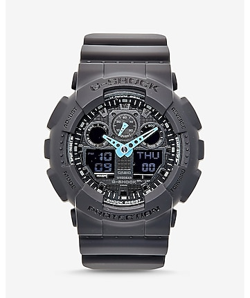 g-shock large gray and neon blue watch
