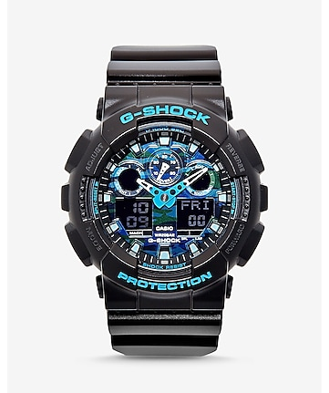 g-shock black and blue watch