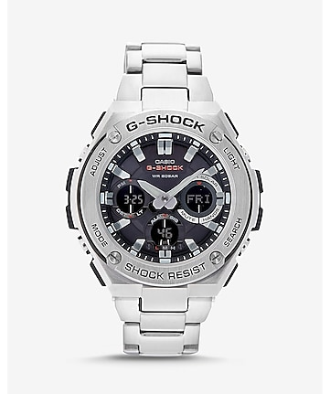 g-shock g-steel silver and black watch
