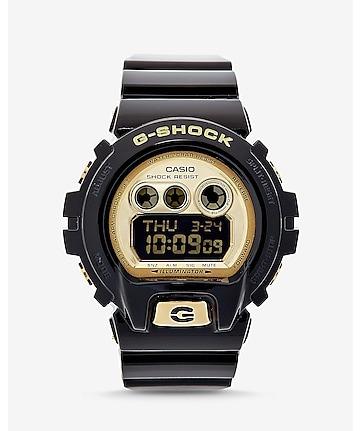 g-shock oversized black and gold watch