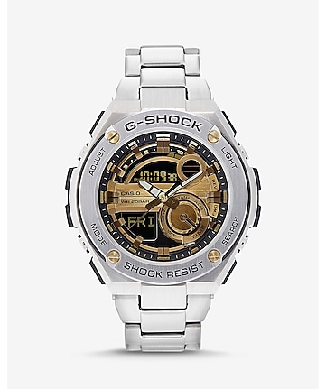g-shock g-steel silver and gold watch