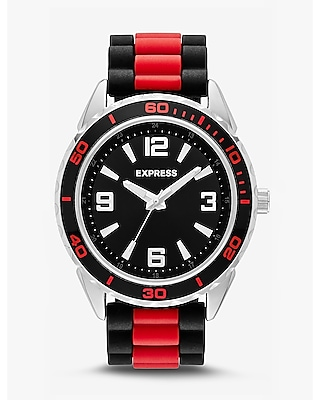 Express Mens Striped Silicone Strap Watch - Red & Black
