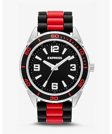 striped silicone strap watch - red & black