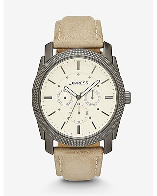 Express Mens Rivington Multi-Function Watch- Tan Leather