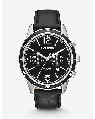 Express Mens Black Leather Strap Dual-Time Whittier Watch