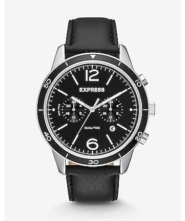 black leather strap multi-function watch