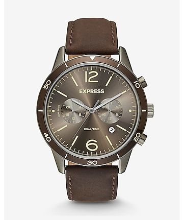 brown leather strap multi-function watch
