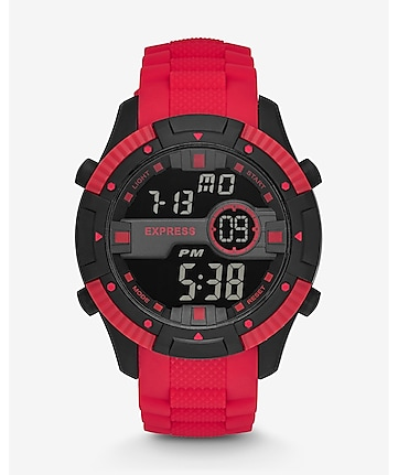 large red silicon strap digital watch