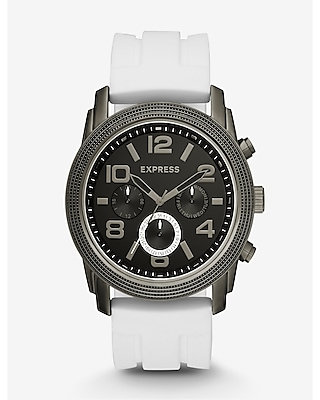 Express Mens White Rivington Oversized Multi-Function Watch