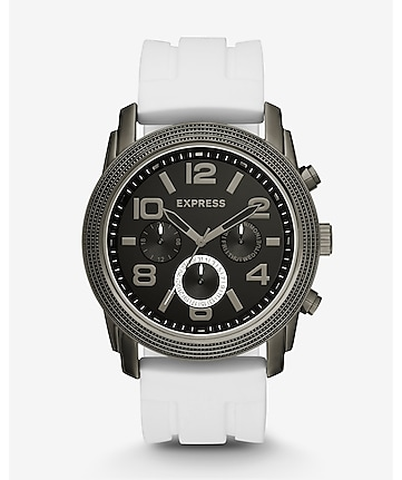 white rivington oversized multi-function watch