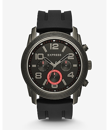 black rivington oversized multi-function watch