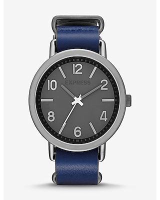 Express Mens Blue Leather Strap Watch