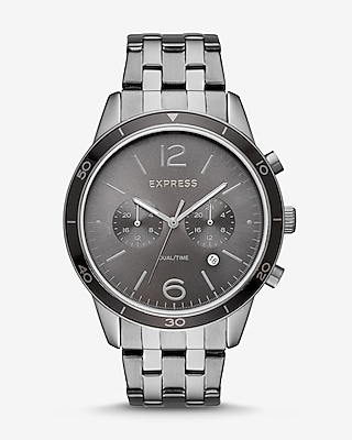 Express Mens Gunmetal Multi-Function Bracelet Whittier Watch
