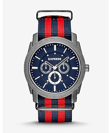 rivington multi-function striped nylon strap watch