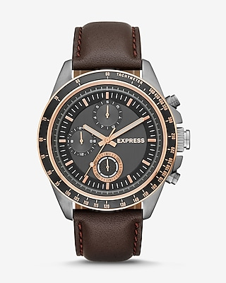 Express Mens Brown Leather Strap Multi-Function Watch