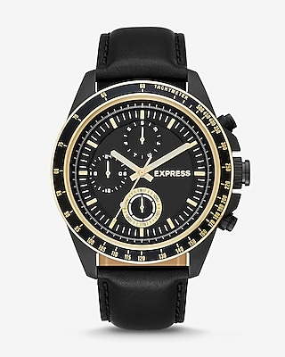 Express Mens Black Leather Strap Multi-Function Watch