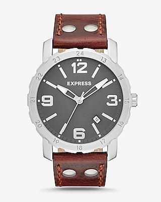 Express Mens Norfolk Brown Leather Strap Watch
