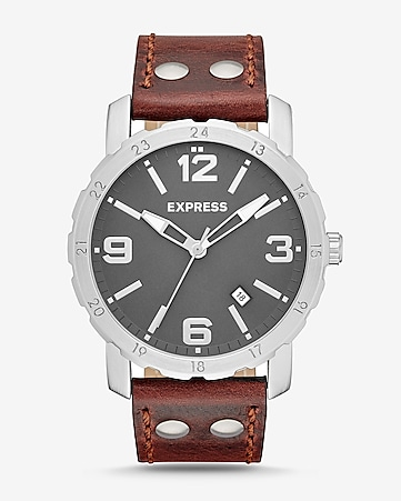 norfolk brown leather strap watch