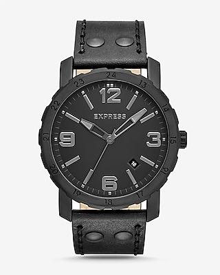 Express Mens Norfolk Black Leather Strap Watch