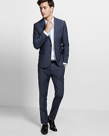 skinny innovator stretch wool blend blue suit pant