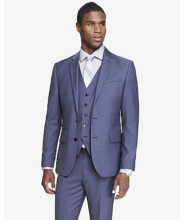 blue wool twill photographer suit jacket