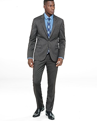 Express Mens Extra Slim Gray Wool Blend Twill Suit Pant
